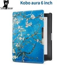 цена на Case for Kobo aura 6 inch 2013 e-Reader Cover Case for Kobo Aura 6 N514 e-book funda capa  sleep cover  film + stylus