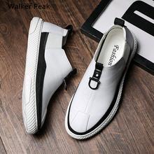 2021 nouveau hommes en cuir chaussures décontractées blanc Tenis chaussures pour hommes mode confortable automne hommes chaussures plates sans lacet homme mocassins chaussure