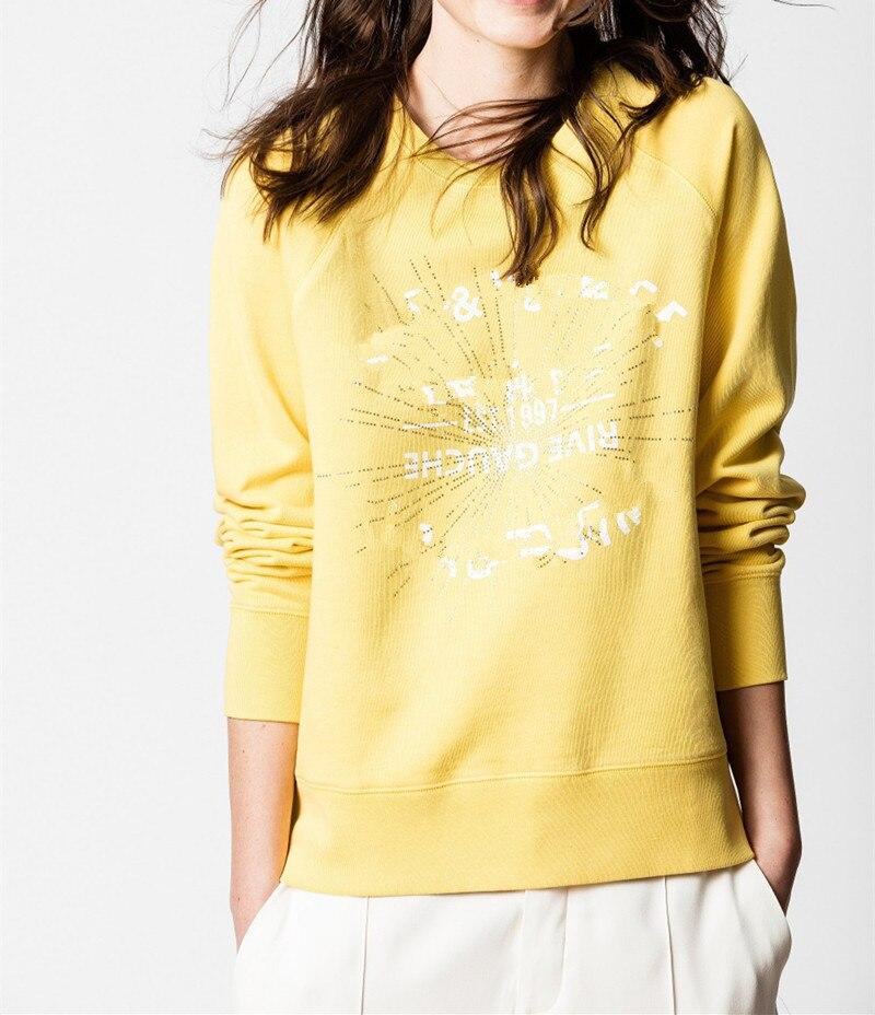 Kadın Giyim'ten Kapşonlu ve Kapşonsuz Svetşörtler'de Kadın Sonbahar Kış Kazak 2019 Yeni Mektup Sıcak Sondaj Uzun Kollu Moda Pamuk Çekme Üst Alt Bez'da  Grup 1
