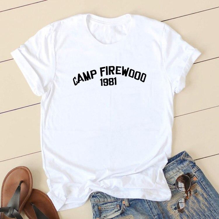 CAMP FIREWOOD Short Sleeve Cotton Tshirt Women Top O-neck Funny T Shirt Women Casual T Shirt Women Funny Tee Shirt Femme
