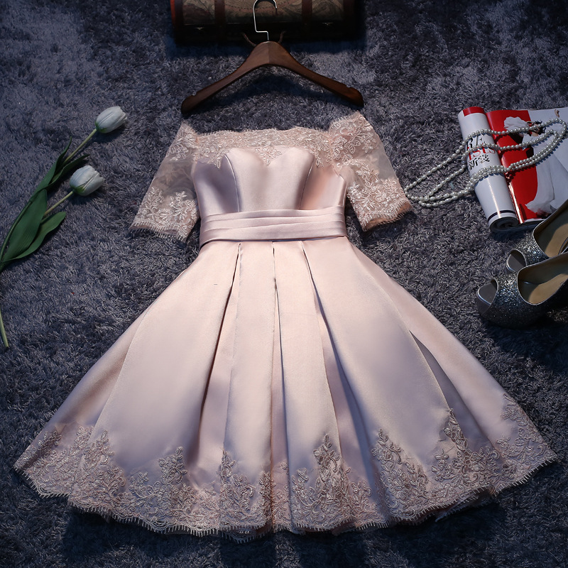 Elegant Lace Prom Dresses Short Lace Sleeves Satin A Line Party Evening Gowns Corset Back Above Knee Length Maid Of Honor