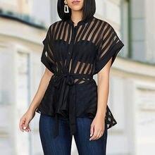 Черная Прозрачная женская блузка топы 2020 летние сексуальные