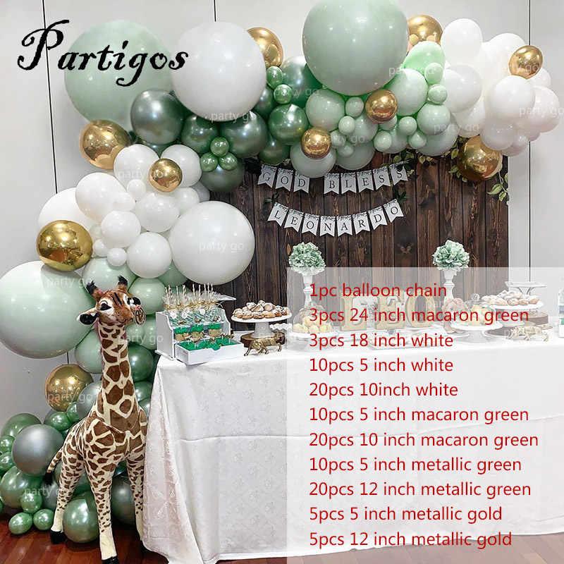 107pcs בלוני לטקס מסיבת ג 'ונגל בלון שרשרת Macaron ירוק לבן זר מתכת זהב בלון מסיבת יום הולדת חתונת דקור