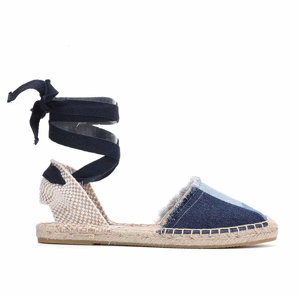 2020 Cao Mới Denim T-Dây Đeo Bằng Phẳng Với Chất Liệu Vải Cotton Mở Sandalias Mujer Giày Sandal Sapatos Mulher Nữ Espadrilles Phẳng giày