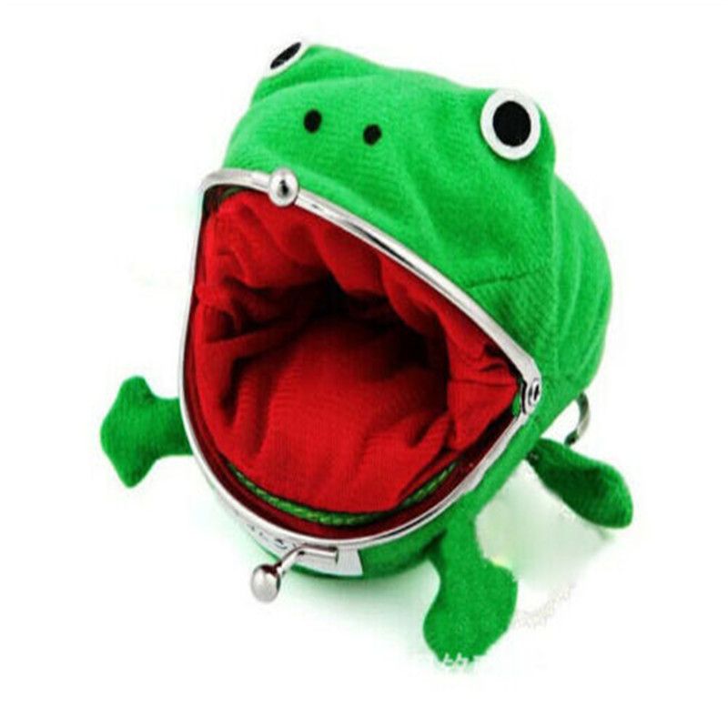 1PCS Cartoon Frog Purse Baby Hobo Green Purse Wallet Shape Fluff Clutch Cosplay Storage Bag Kids Gifts Organizer