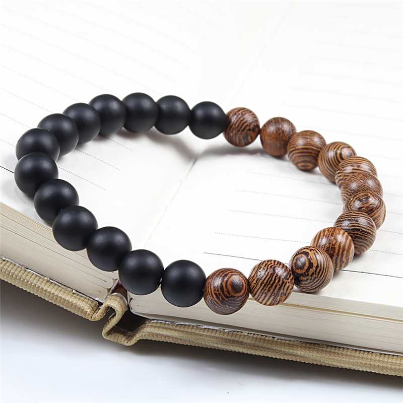 8mm Natural Stone Wooden Beads Bracelets Men Black Ethinc Meditation White Black Lava Bracelet Women Prayer Jewelry Yoga Bangle