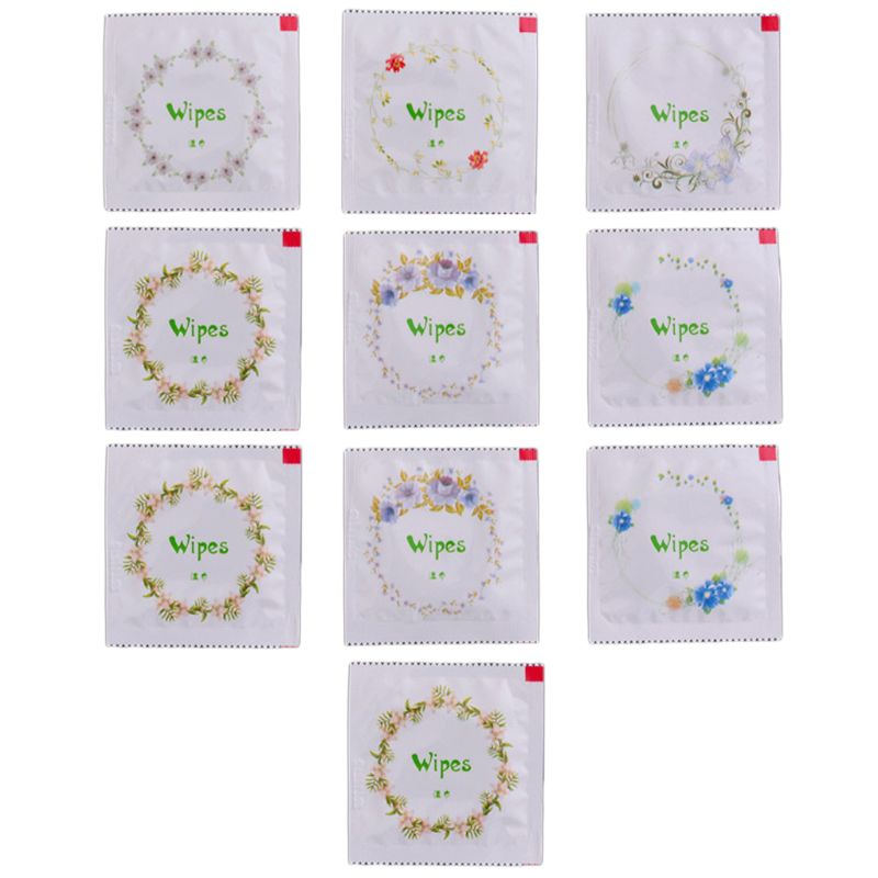 10Pcs Portable Cartoon Floral Print Condom Shape Wet Wipes Tissue Hand Face Cleaning Travel Random Color