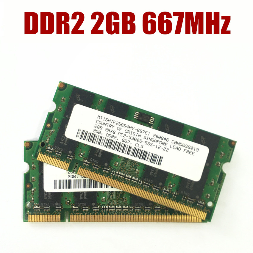 Micron 2*2GB  DDR2-800MHZ PC2-6400 200pin Sodimm Laptop Memory RAM Full Tested