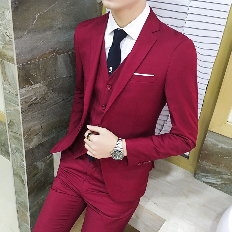 Casual Youth British-Style Suit Slim Fit MEN'S Suit Set Three-piece Set Korean-style Marriage Groom Formal Dress Handsome