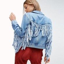 Kadın ince sıcak moda delik kot ceket bayan zarif Vintage ceketler temel palto büyük boy saçak kot ceket