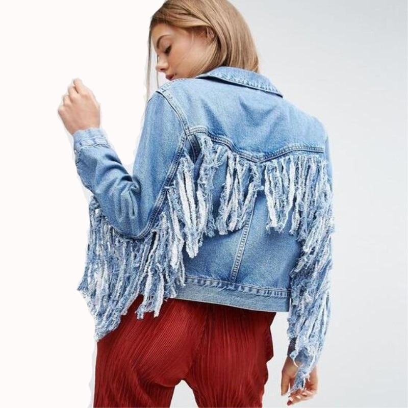 Women  Slim hot fashion holes Denim Jacket Lady Elegant Vintage  Jackets Basic Coats Large size fringe denim jacketJackets   -