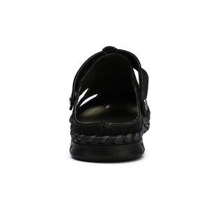 Image 5 - חדש מקרית גברים רך סנדלי נוח גברים קיץ עור גברים של נעלי בית גברים רומי הקיץ חיצוני חוף סנדלי גודל גדול 38 48