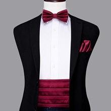Hi-Tie Luxury Silk Adult Men's Cummerbunds Gold Bow Tie Sets Hanky cufflinks Set Formal Wedding Party Tuxedo Cummerbund Elastic