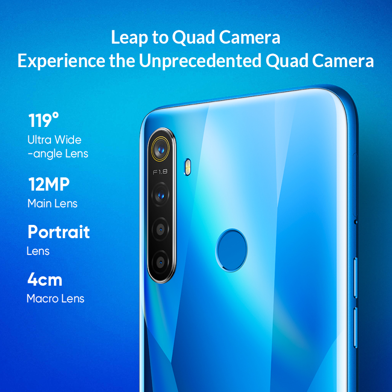Realme 5 Globale Version 3GB 64GB 6.5 ''Moblie Telefon Snapdragon 665 Octa Core 12MP Quad Kamera Handy 5000mAh 10W Schnelle Ladegerät