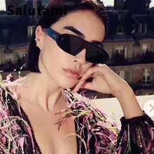 2019 New Fashion Oval Small Frame Black Sunglasses For Women Luxury Brand Vintage Flat Sun Glasses Men Retro Eyewear Clear Pink