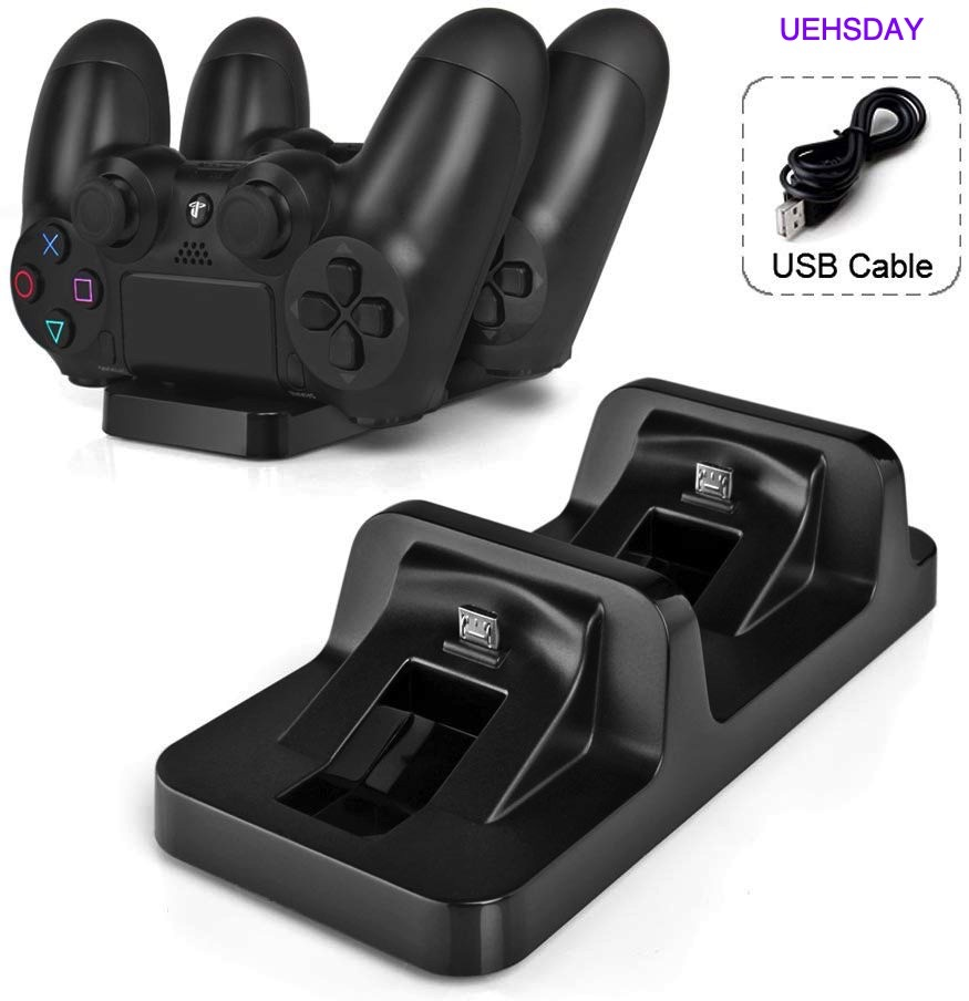 Dual USB Charger Dock Station Cradle Stand Base For Sony Playstation 4 PS4 Dual Shock Wireless Controller With USB Cable