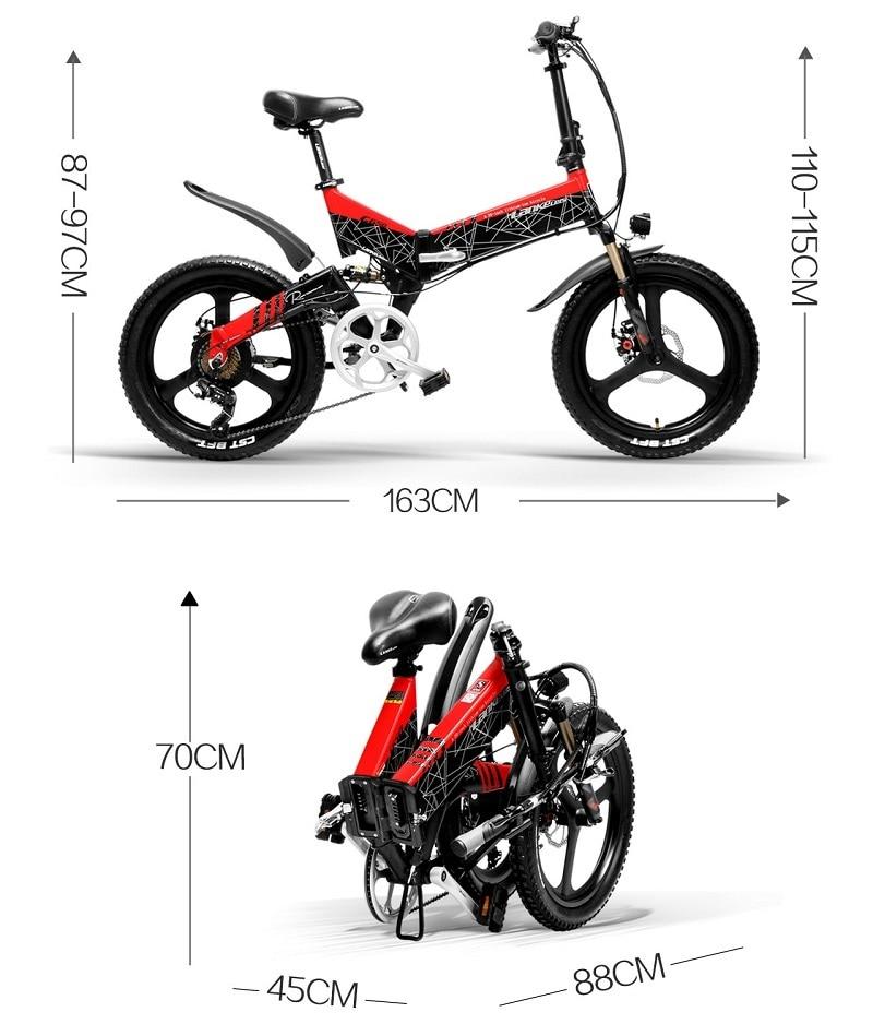 full LANKELEISI Foldable electric bike G650 suspension 7 Speeds 48V 400W Motor 13AH Battery 5