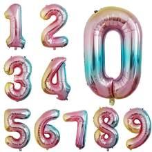 32 pouces grand arc-en-ciel couleur numéro feuille ballons anniversaire fête de mariage décoration ballon numérique enfant jouet cadeau