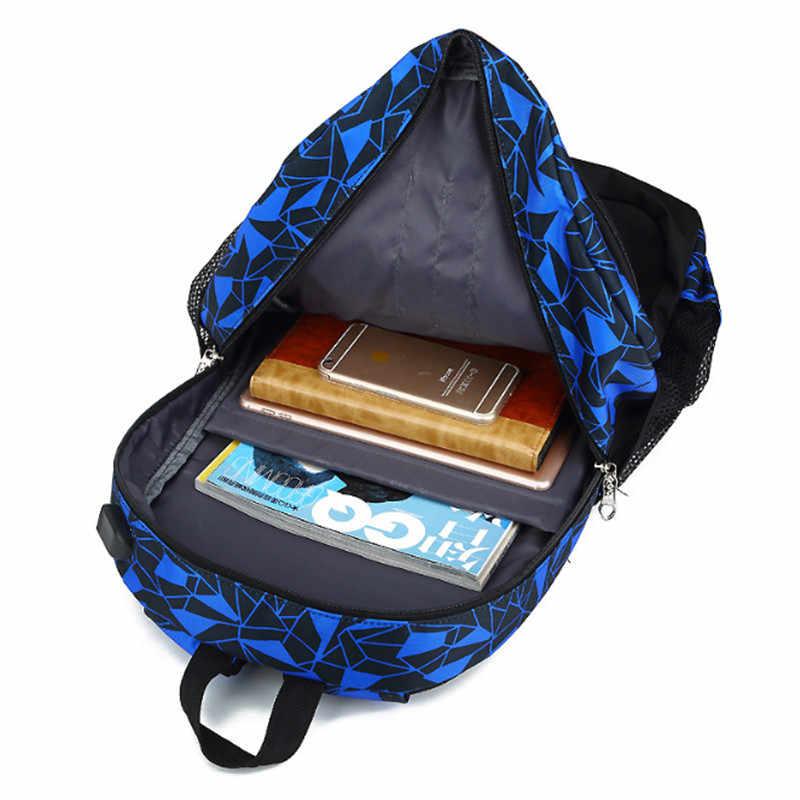 2019 חדש 3pcs USB זכר ילדה תרמיל תיק סט אדום וכחול תיכון לבנים אחת כתף גדול גברים בית ספר תלמיד ספר שקיות