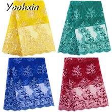 5 yards Fashion african flower lace fabric Embroidered lace fabric sewing DIY trim Ribbon dress craft guipure accessory high quality african flower lace fabric embroidered lace fabric sewing diy craft trim ribbon dress guipure accessory 1 yard
