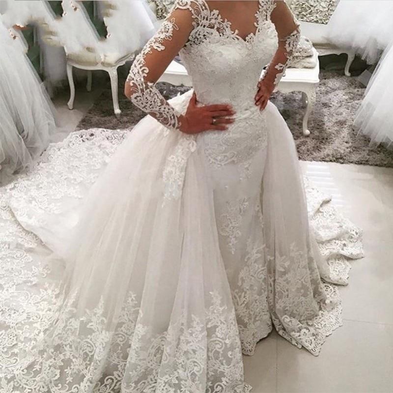 Luxury Lace Long Sleeve Mermaid Wedding Dress With Detachable Skirt Backless Court Train Saudi Arabia Bridal Wedding Gowns Dubai
