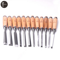 Atoplee Professional 12Pcs Set Wood Carving Chisel Tool Hand Gouges Carpenter Graving Knife for Polishing Carving Chisels Tools