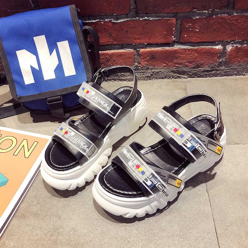 2019 yaz tıknaz sandalet kadın 8cm kama yüksek topuklu ayakkabı kadın toka platformu deri rahat yazlık terlik kadın sandalet