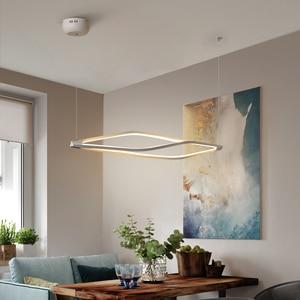 Image 5 - Modern LED kolye ışıkları yemek odası bar mağaza asılı kolye lamba oturma odası ofis ev deco 90 260V mat siyah/beyaz