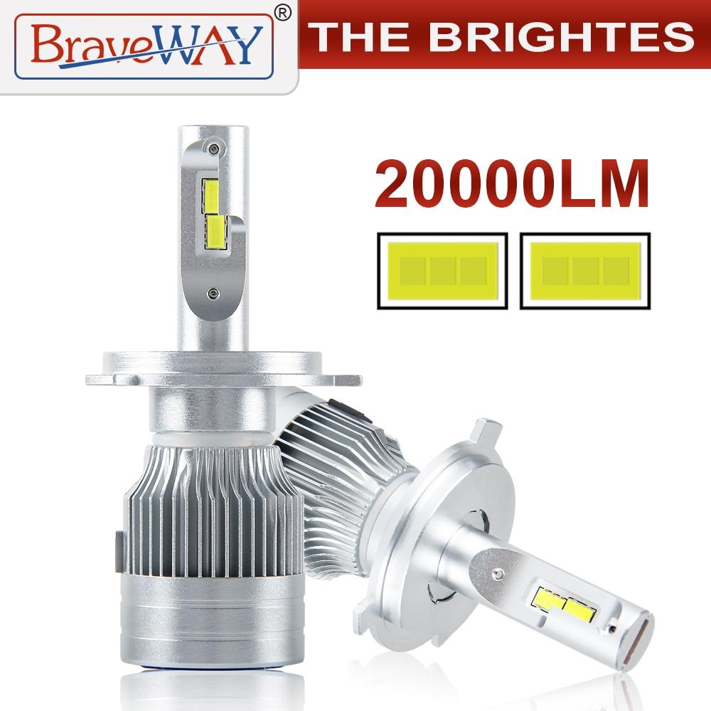 BraveWay 20000LM LED Car Headlight Bulbs H1 H11 H7 H4 LED Lamps HB3 HB4 H8 Fog Lamps Auto Light Bulbs 12V 24V Motorcycle Lights