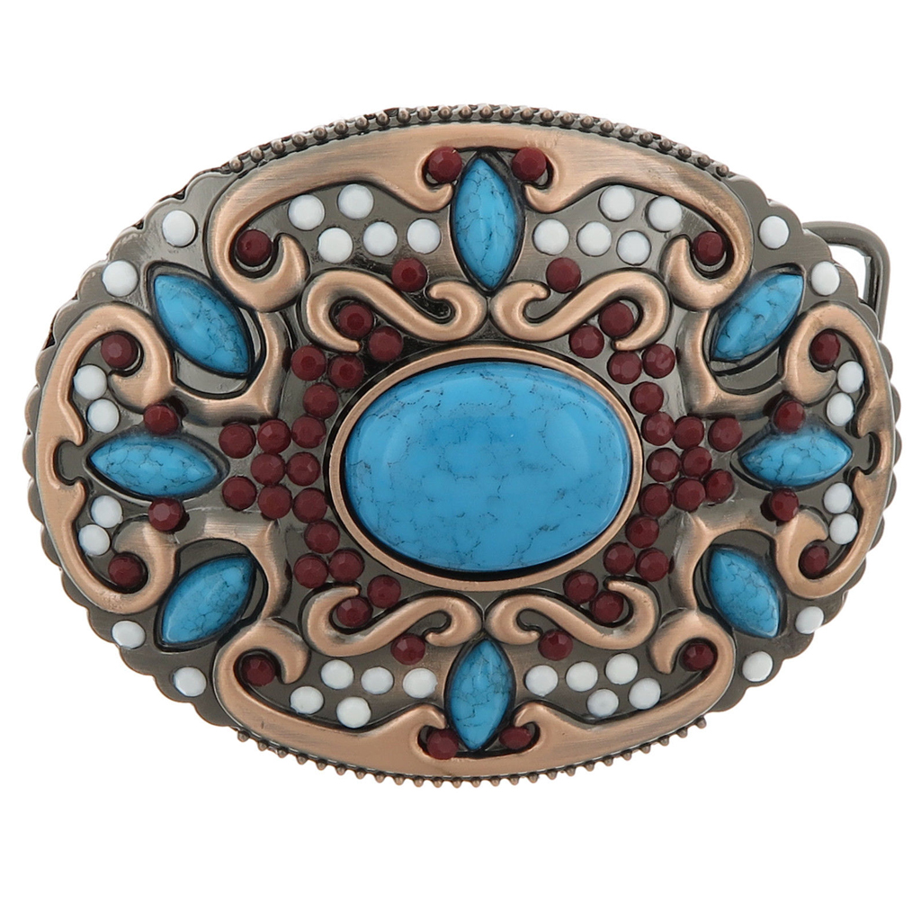 Bohemian Beads &Turquoise Decor Western Hip Hop Metal Belt Buckle For Women