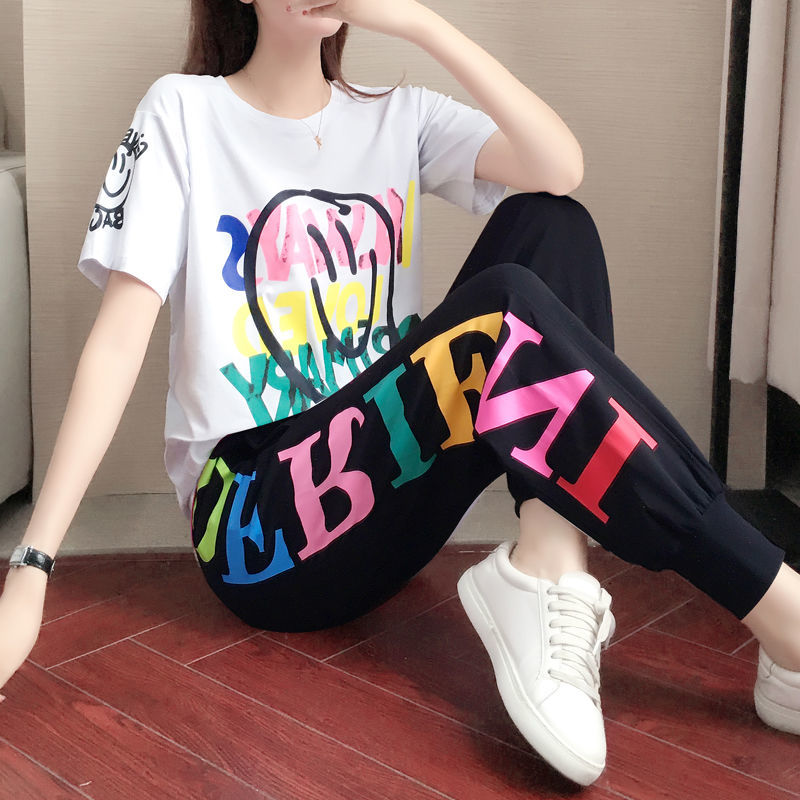 Женские Беговые брюки, модные свободные брюки с высокой талией и принтом букв, спортивные брюки с карманами в стиле хип хоп, летняя уличная одежда|Брюки |   | АлиЭкспресс