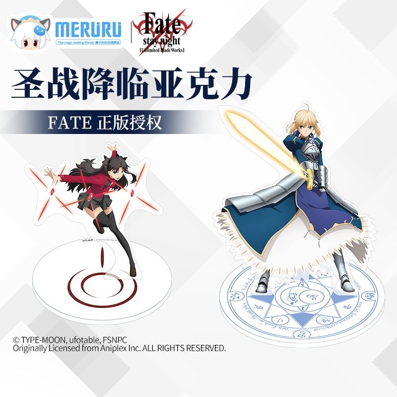 MONZON Official FATE Acrylic Stands Saber Tohsaka Rin Character Cosplay Cartoon Desktop Decoration Animation Around