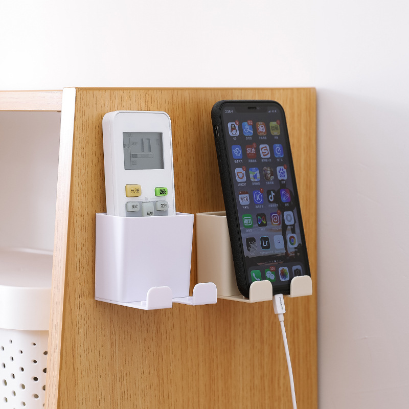 1Pcs Wall Mounted Mobile Phone Charging Stand Holder Container Organizer Storage Box Remote Control Air Conditioner Storage Case