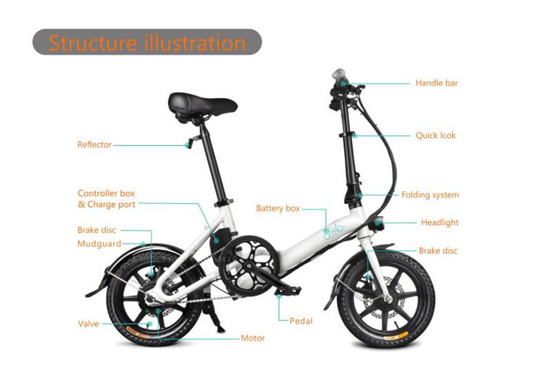 Fiido D3 Mini Electric Bike Two Wheels Electric Scooters 14 Inch 36V 250W Adults Portable Foldable Electric Bicycle With Seat (5)