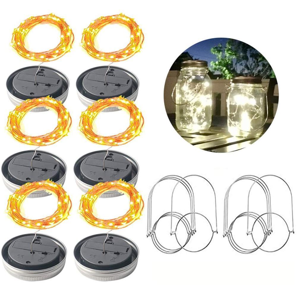 Solar Peri Topi Lampu Dengan Handle Mason Tutup Lampu Kawat Tembaga String Lampu Luar Ruangan Taman Dekor Pesta Natal Pernikahan Liburan Pencahayaan Aliexpress