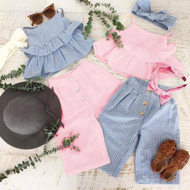 3pcs Casual Bambini Vestiti Delle Ragazze Set Solido Increspato Cinghia Magliette e camicette + Pants + Copricapo 3