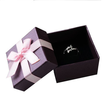 Square Jewellery Organizer box 100pcs/lot 5*5*3.8cm purple ring packaging box,earring paper box,jewelry gift box