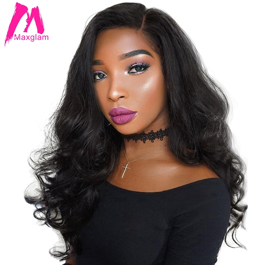 Maxglam 360 Lace Front Human Hair Wigs With Pre Plucked Baby Hair Peruvian Wig Remy Body Wave Lace Wigs 22*4*2 150% Freeshipping