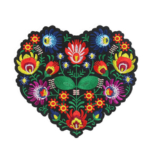 2PCS Large Heart Shape Flower Patch 3D Embroidery Applique Iron on Patches for Clothing Accessories DIY Apparel Sewing Supplies
