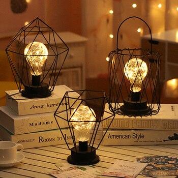 Creative Vintage Wrought Iron Lantern Diamond Night Light LED Bedroom Table Lamp Decorative For Living Room