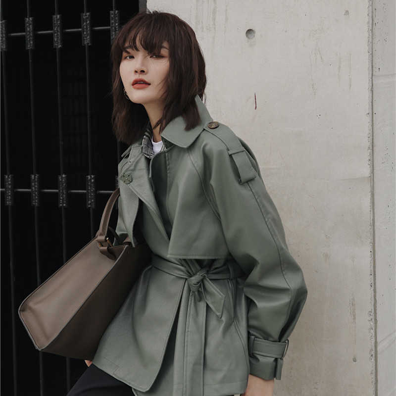 [LANMREM] 2020 Spring New Products Fashion Solid Color Lapels Tie Long Loose Casual Leather Jacket PA500