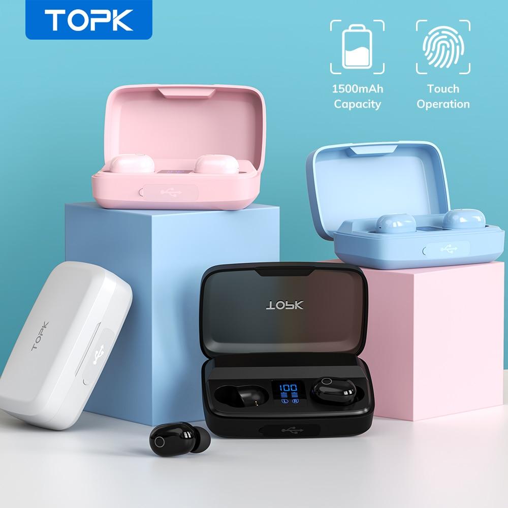 TOPK-auriculares inalámbricos TWS con Bluetooth V5.0, dispositivo de audio con huella digital táctil, con caja de carga de 1500mAh, deportivos, resistentes al agua