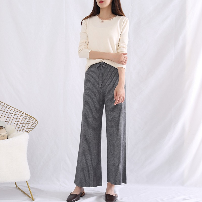 Early Autumn New Style Loose And Plus-sized Fashion WOMEN'S Dress Wool Knit Simple Casual   Pants   Versatile Lace-up   Capri   Loose Pa