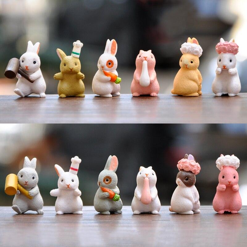 10Pcs Lovely Miniature Garden Mini Rabbit Resin Fairy Decor Ornament W5M9