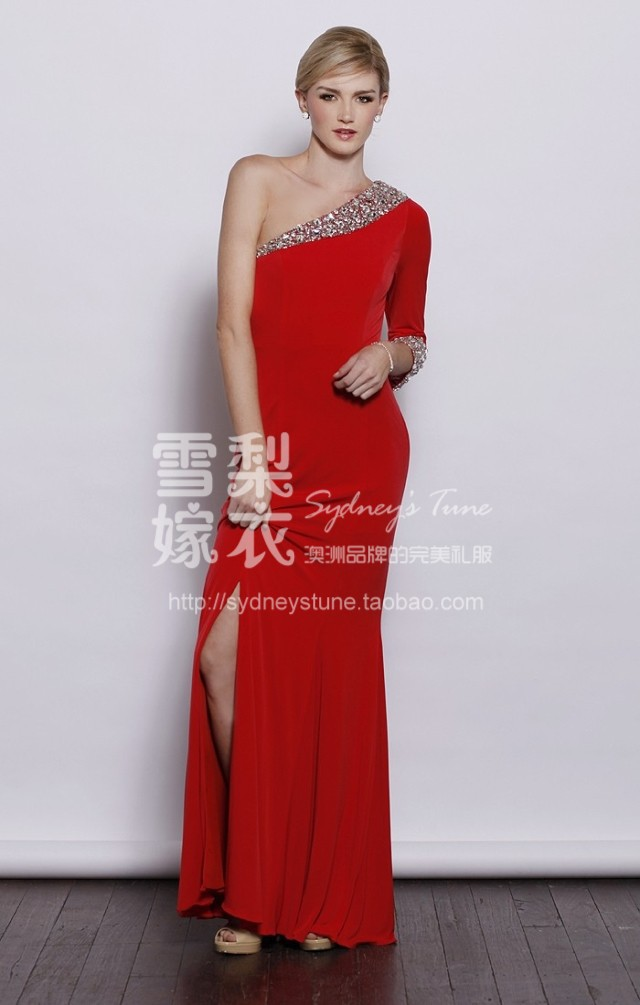 Robe De Soiree 2018 New Fashion Vestido De Festa Curto One Shoulder Beading Crystal Evening Gown Mother Of The Bride Dresses