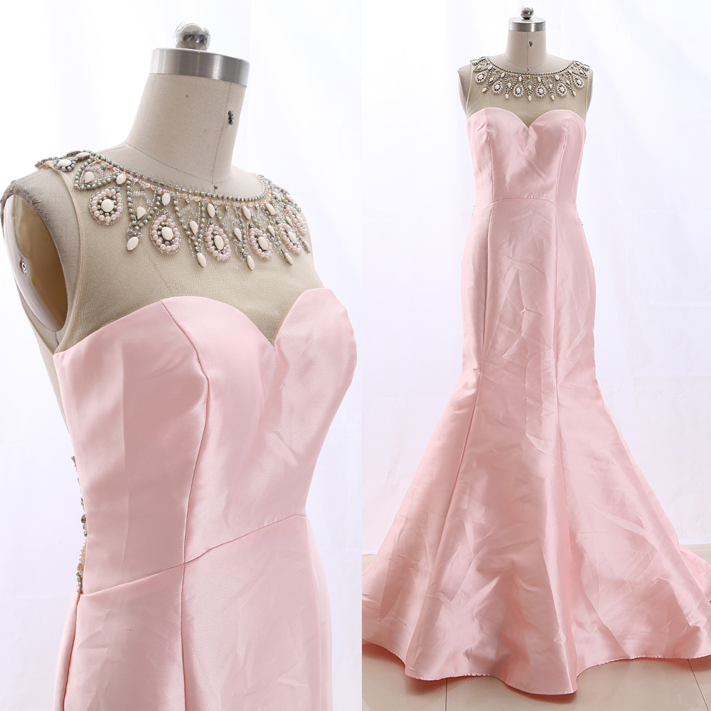 MACloth Pink Sweep Train O Neck Floor-Length Long Crystal Tulle   Prom     Dresses     Dress   M 265813 Clearance