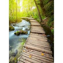 Planche de bois pont ruisseau forêt photographie toile de Fond Fond personnalisé pour enfants bébé Portrait Photocall Fond Photo