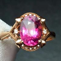 Rubillite Ring Fine Jewelry Pure 18 K Gold Natural Rubi Tourmaline 2.7ct Gemstone Diamond Gift Female Rings for Women Fine Ring