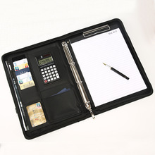 A4 Leather Office Document folder Multifunctional Business Portfolio Padfolio Holder Organizer Manager Briefcase With Calculator