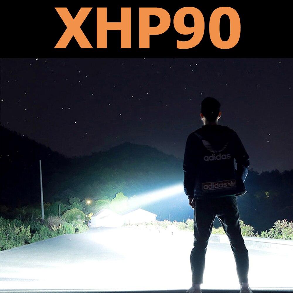 Most Powerful XHP90 LED Flashlight USB Rechargeable Flashlight Zoom Torch XHP70.2 LED Torch Waterproof Flashlight 18650 Battery
